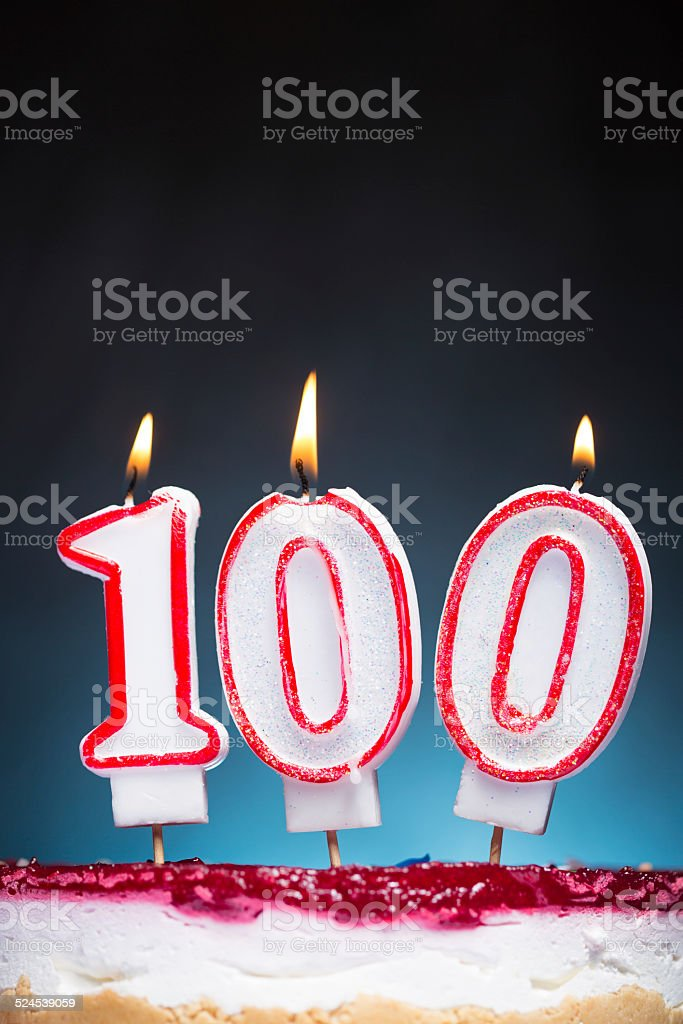 100th Birthday candles stock photo