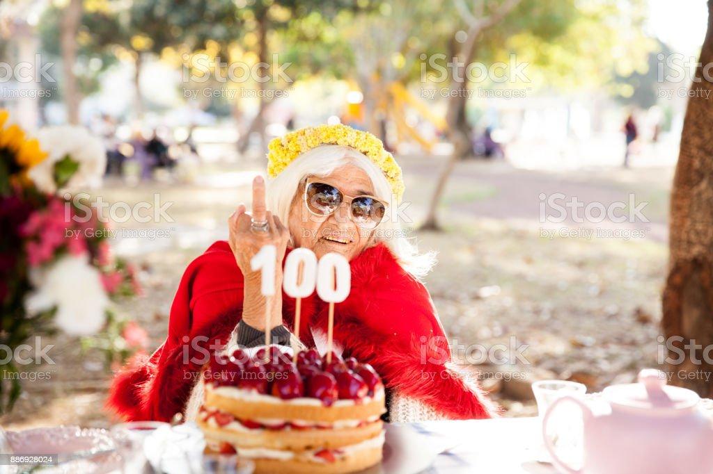 100th Birthday Gesture stock photo