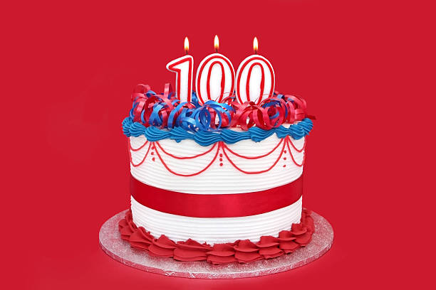 100th Cake  100th anniversary stock pictures, royalty-free photos & images