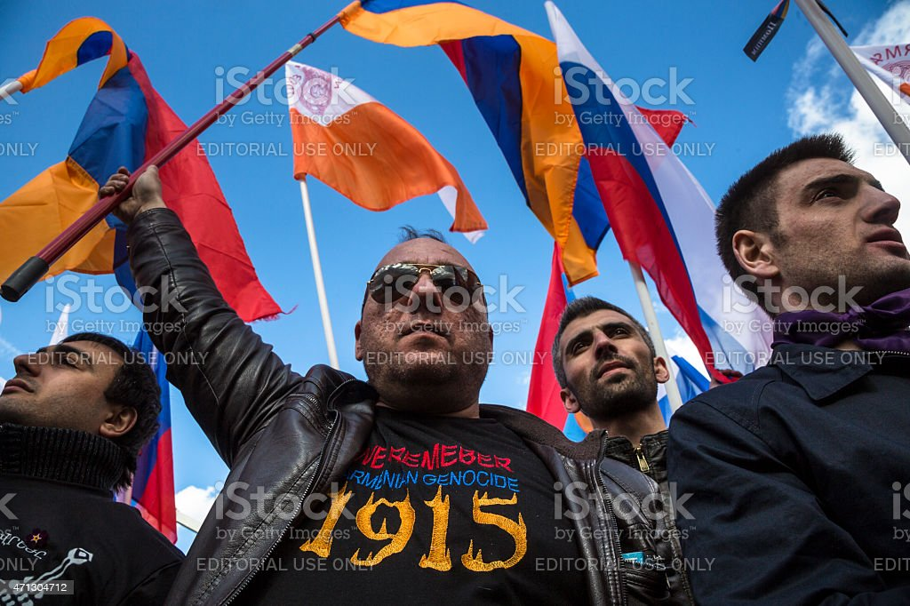 100th of Armenian genocide Russia, Moscow, 24 of April 2015:  People holding a Armenian flags in Moscow Gorky park to mark the 100th anniversary of the Armenian genocide in the Ottoman Empire on 1915 year  100th Anniversary Stock Photo