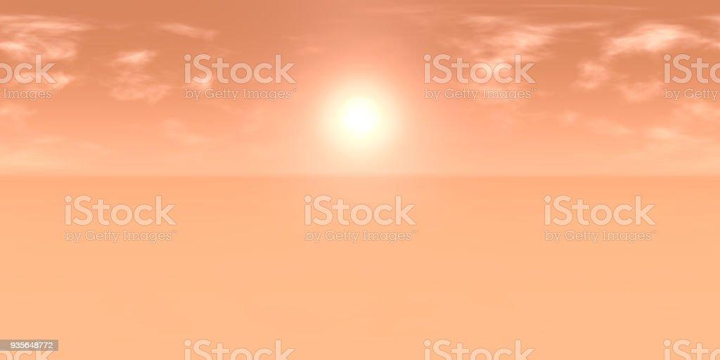 carte HDRI 10 k: soleil dans le ciel nuageux de rouge sur un paysage désertique sur une planète inconnue (carte environnement pour projection cylindrique équidistante, photographie panoramique, illustration 3d à haute résolution) - Photo