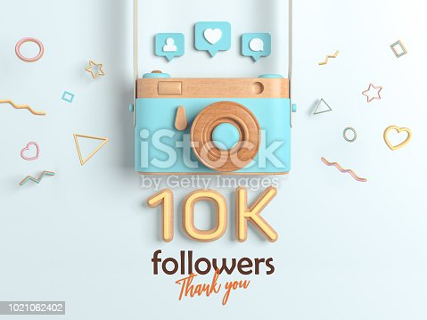 istock 10k or 10000 followers thank you, Blue Retro Photo Camera and multicolor Figures. 3D Illustration for Social Network friends, followers, Web user Thank you celebrate of subscribers. 1021062402