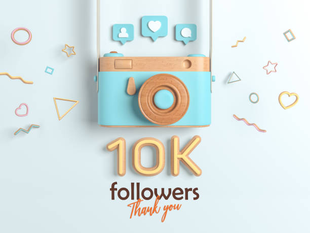10k or 10000 followers thank you, Blue Retro Photo Camera and multicolor Figures. 3D Illustration for Social Network friends, followers, Web user Thank you celebrate of subscribers. stock photo