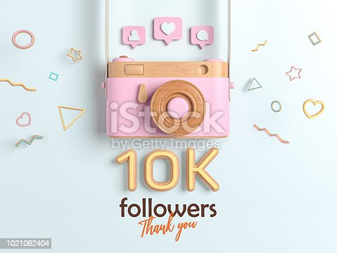 istock 10k or 10000 followers thank you, Pink Retro Photo Camera and multicolor Figures. 3D Illustration for Social Network friends, followers, Web user Thank you celebrate of subscribers. 1021062404