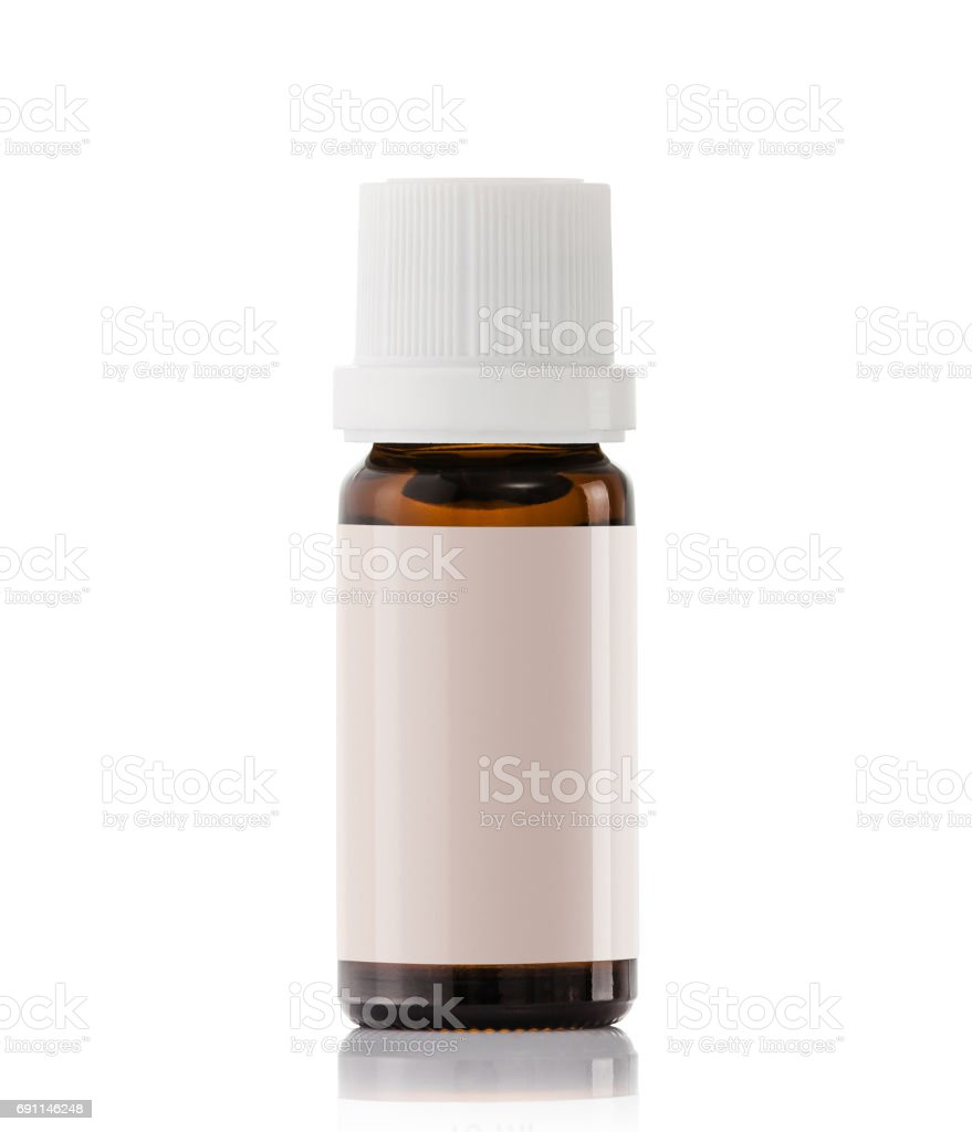 10ml essential glass oil bottles with blank label stock photo