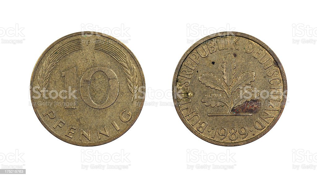 10-Pfennig-Coin, Germany, 1989 stock photo
