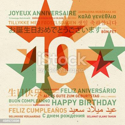 istock 10th anniversary happy birthday card from the world 498920698