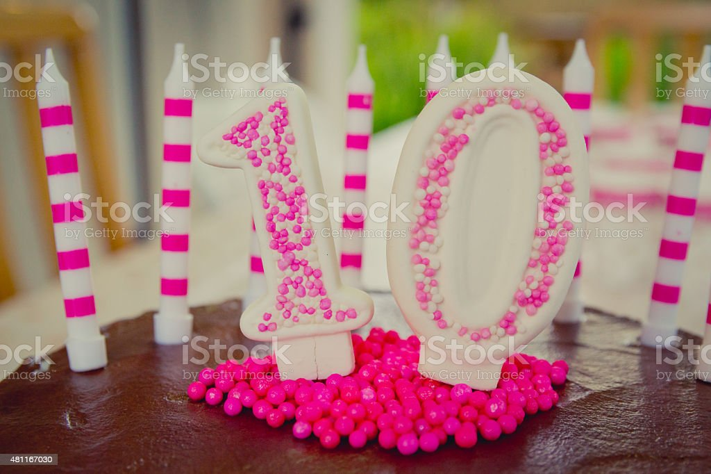 10th Birthday Cake decoration stock photo