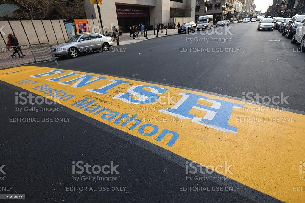 118th Boston Marathon Finish Line stock photo