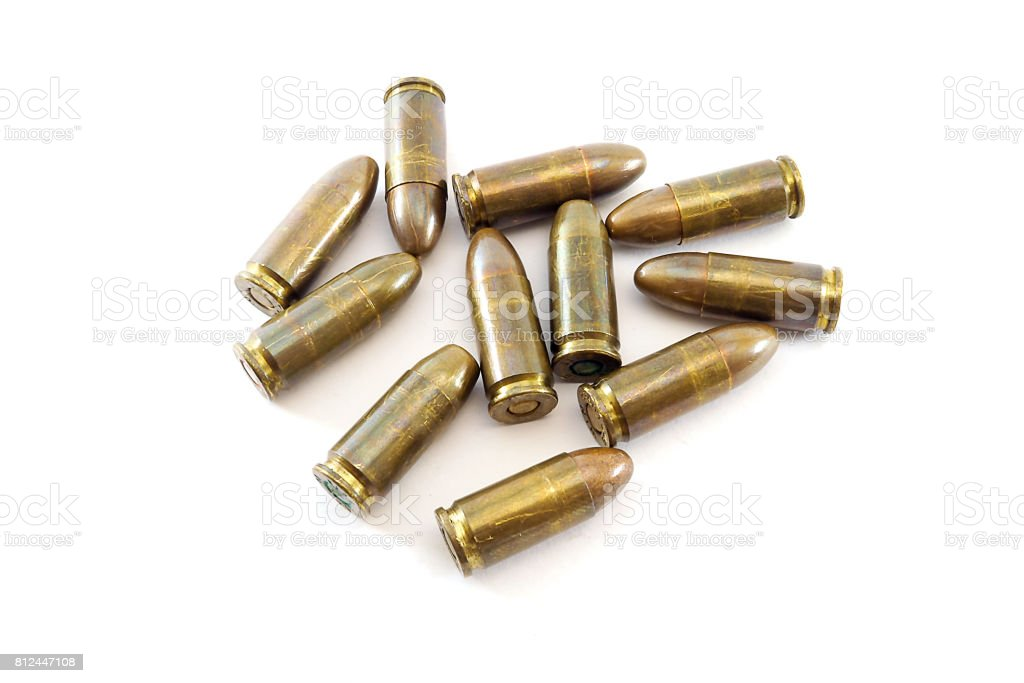 11mm bullets for a short gun. bullets isolated on white background. stock photo