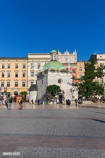 istock 11th century baroque Church of St. Wojciech on main market square, Krakow, Poland 966854632