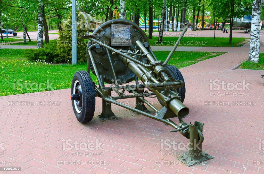 120-mm regimental mine-thrower of 1938 model on Alley of military glory in park of Winners, Vitebsk, Belarus stock photo