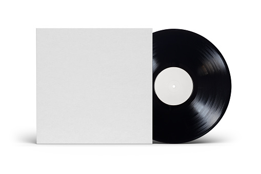 12-inch vinyl LP record in blank cardboard cover isolated on white background. Mock up template