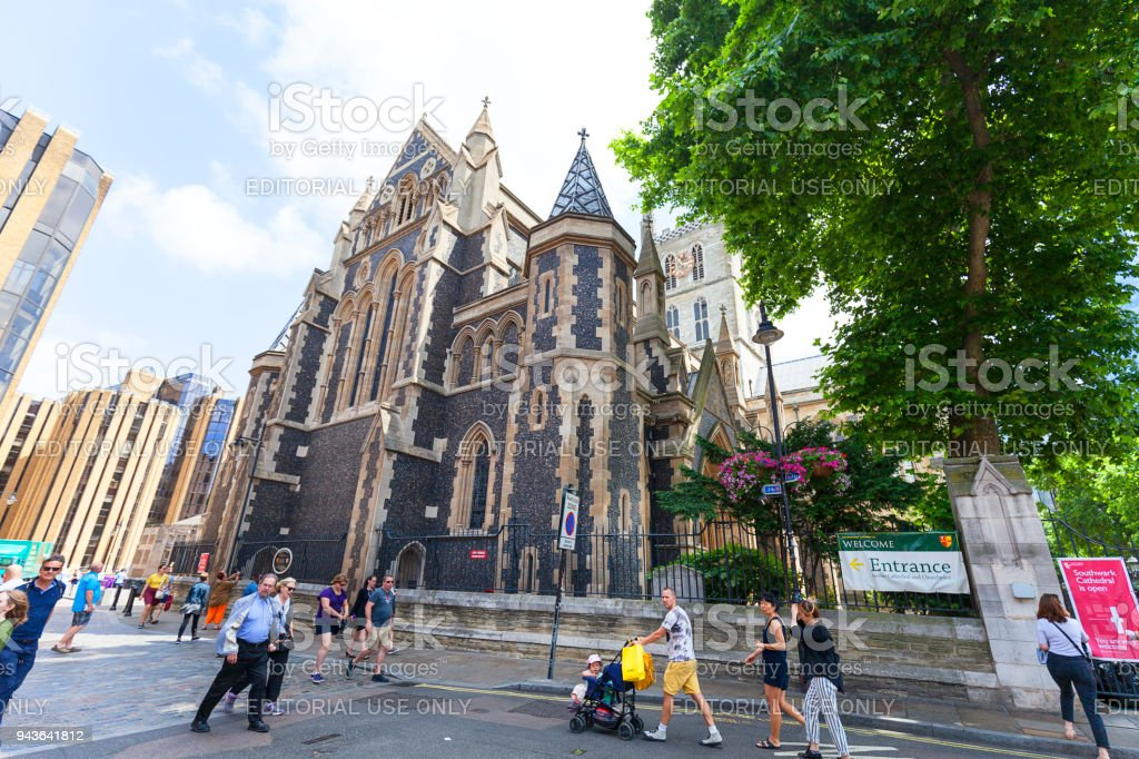 12th century gothic style Southwark Cathedral, London, United Kingdom stock photo