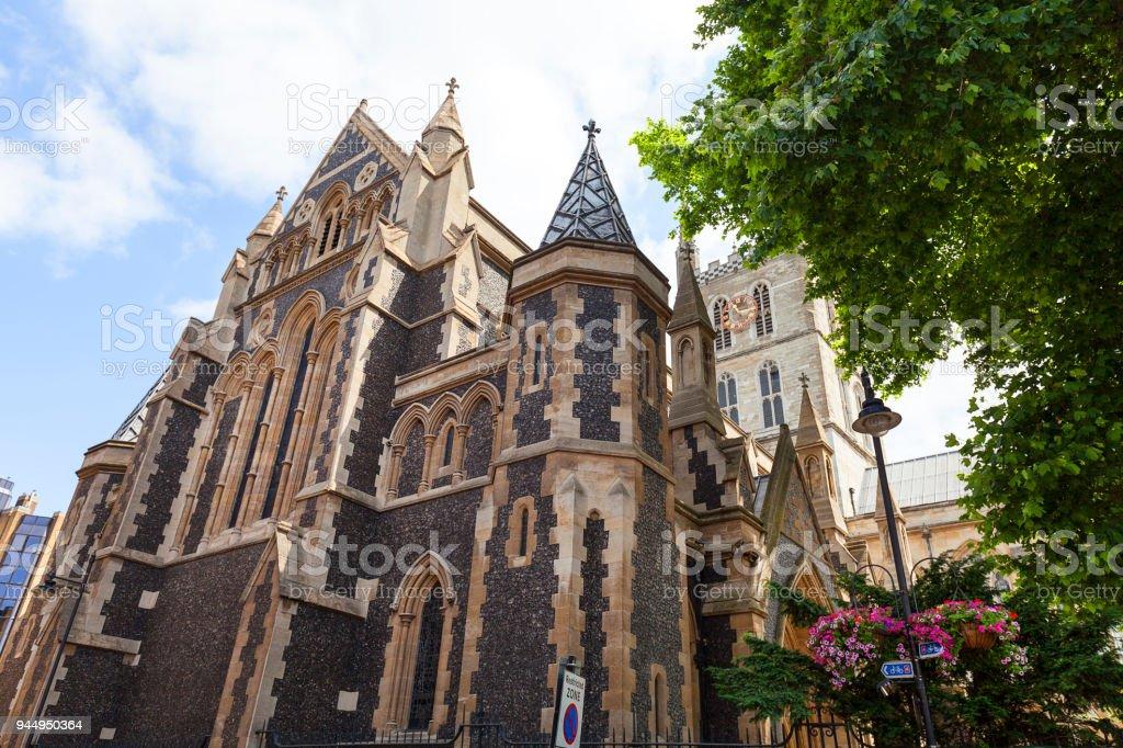 12th century gothic style Southwark Cathedral, London, United Kingdom. stock photo
