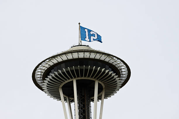 12th Man Flag On Space Needle stock photo