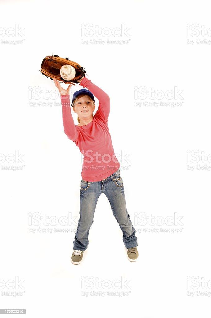 12-year girl softball player stock photo
