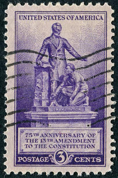 13th Amendment Ending Slavery Stamp stock photo