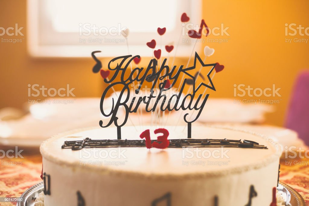 13th Birthday Cake stock photo