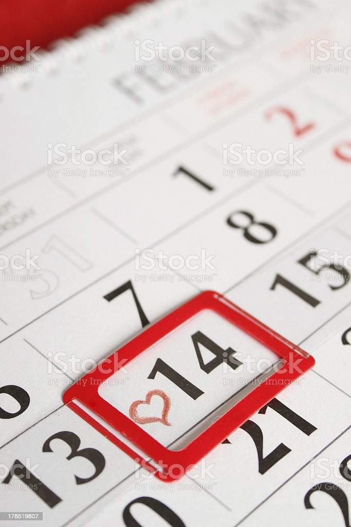 14th of February with heart royalty-free stock photo