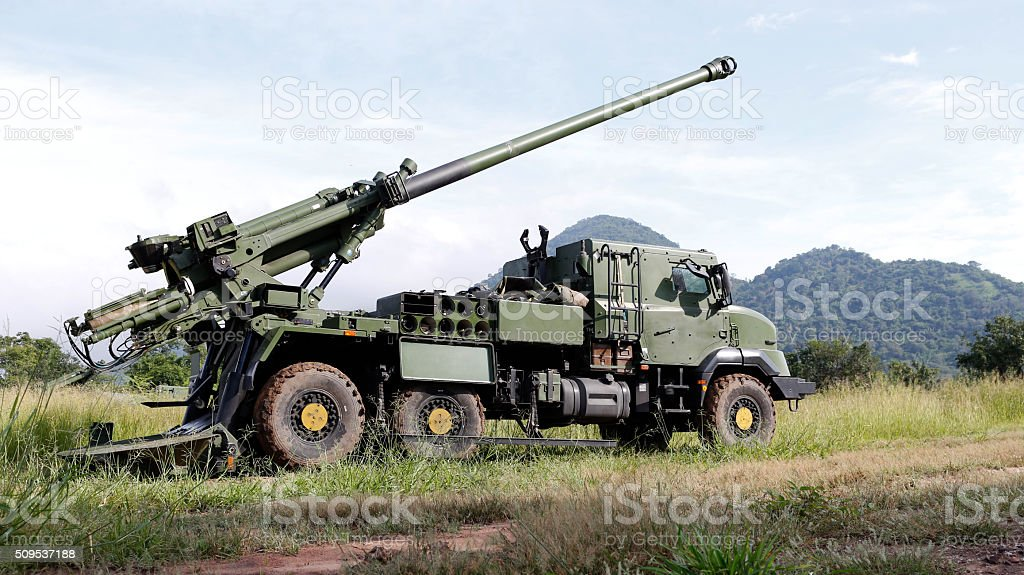 155mm.Howitzer self-propelled stock photo