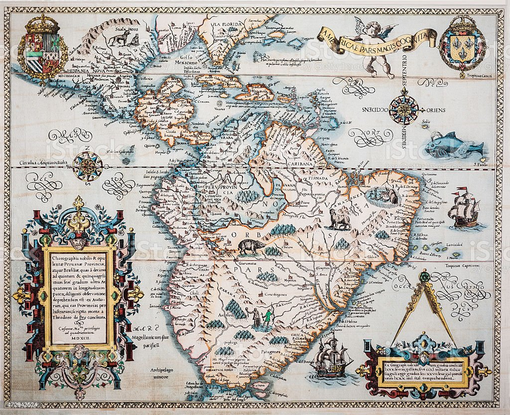 1594Map of the Americas stock photo