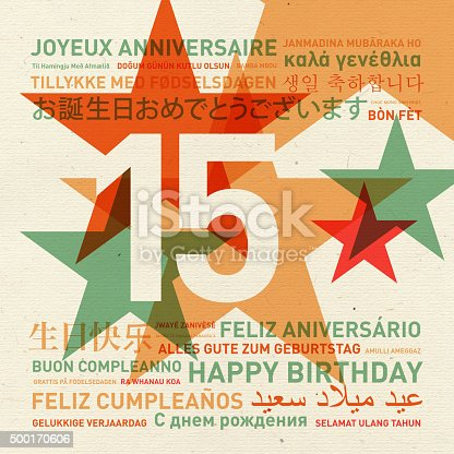 istock 15th anniversary happy birthday card from the world 500170606