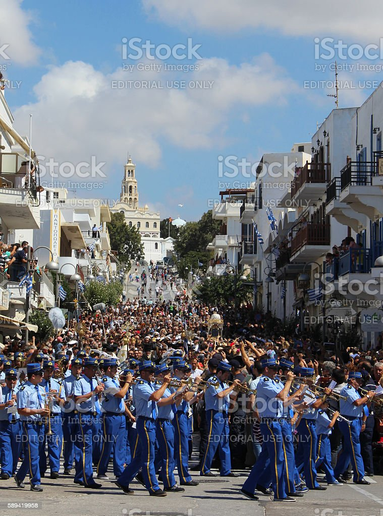 15th August Virgin Mary miraculous icon litany on Tinos island stock photo