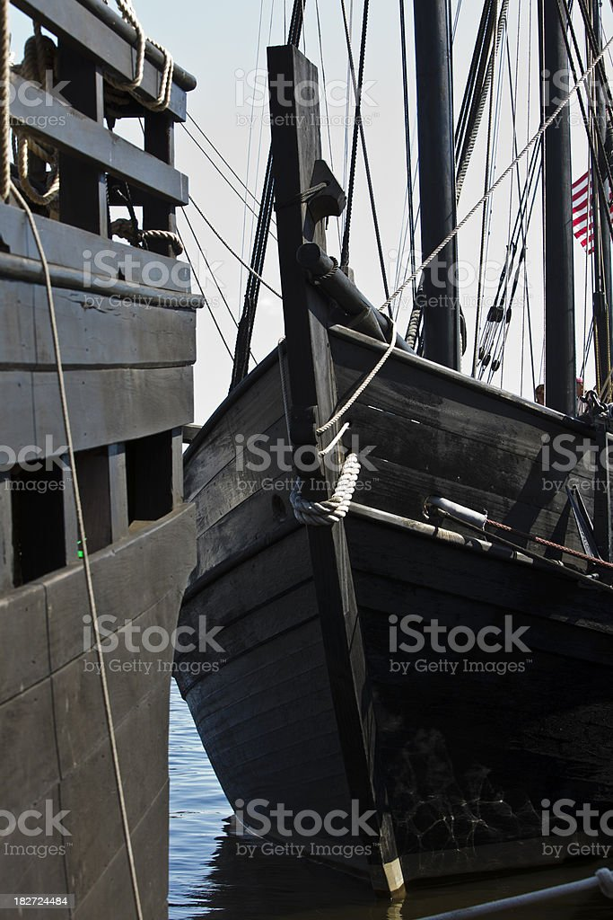 15th Century Sailing Ship Docked in Harbor stock photo