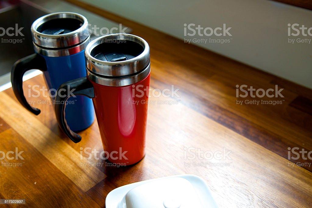 16oz Stainless Steel Travel Tumbler Coffee Thermos Mug stock photo