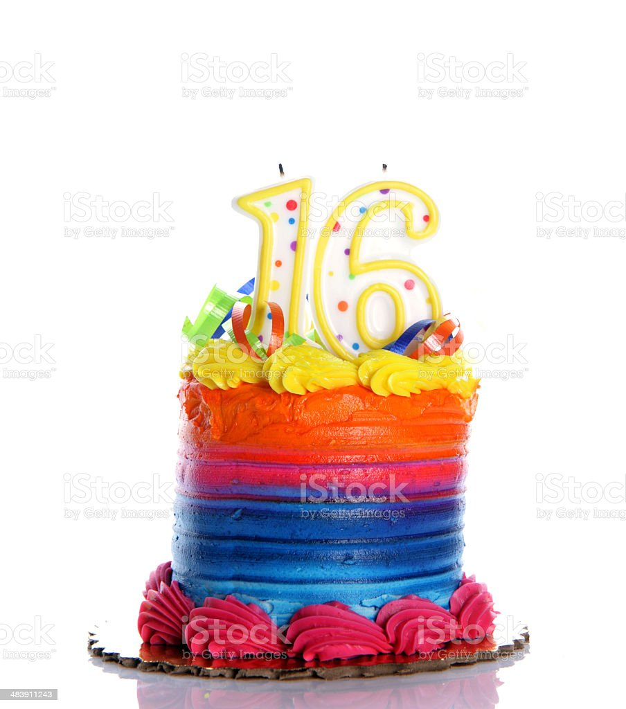 16th Birthday Cake stock photo