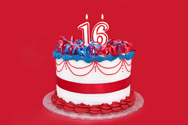 16th cake - number 16 stock photos and pictures