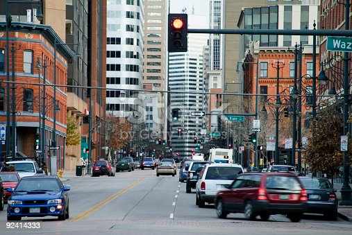 Picture is of a busy downtown Denver street taken from the Lodo Shopping area.