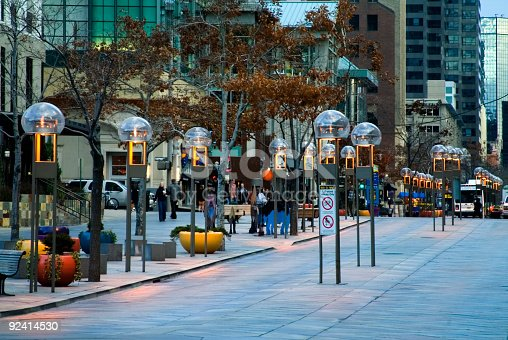 The 16th Street Mall in the Lodo area of Denver Colorado at dusk.
