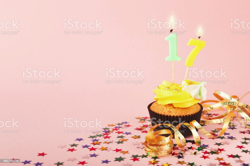 17th Birthday Cupcake With Candle And Sprinkles