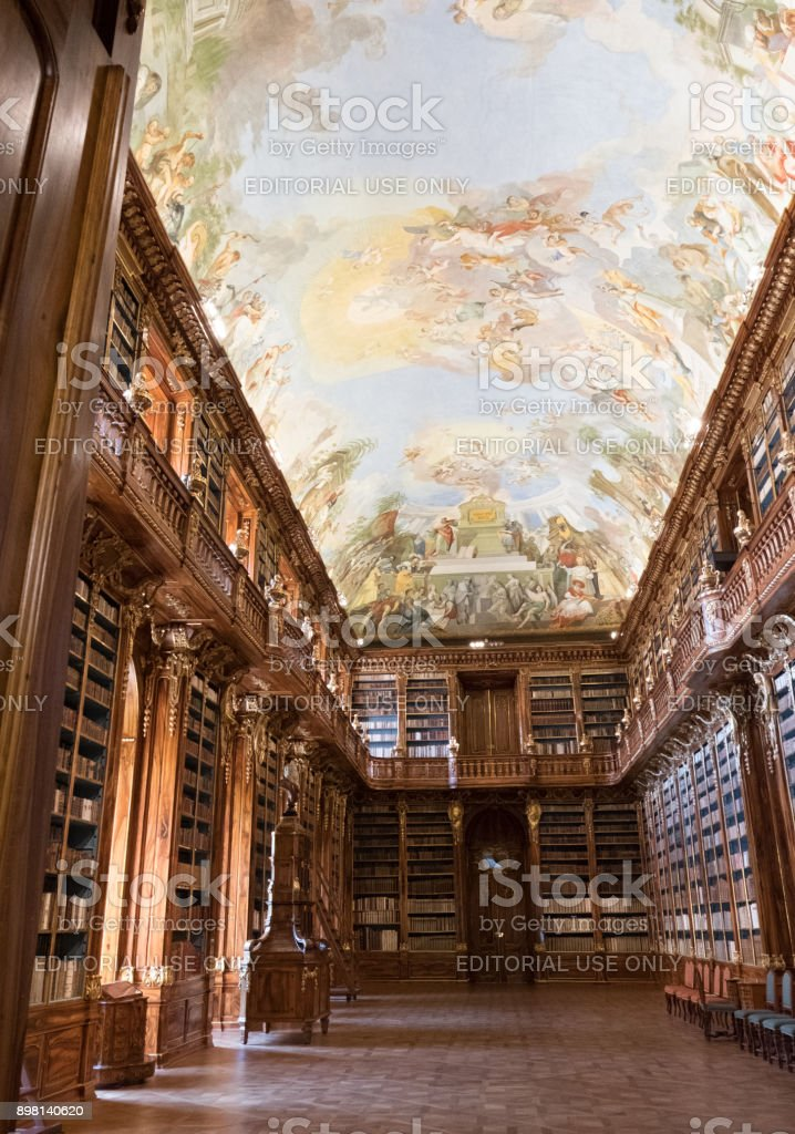 17th century library of the Strahov Monastery.  The Philosophical Hall, built for the books coming from the southern Moravian Louka Convent. stock photo