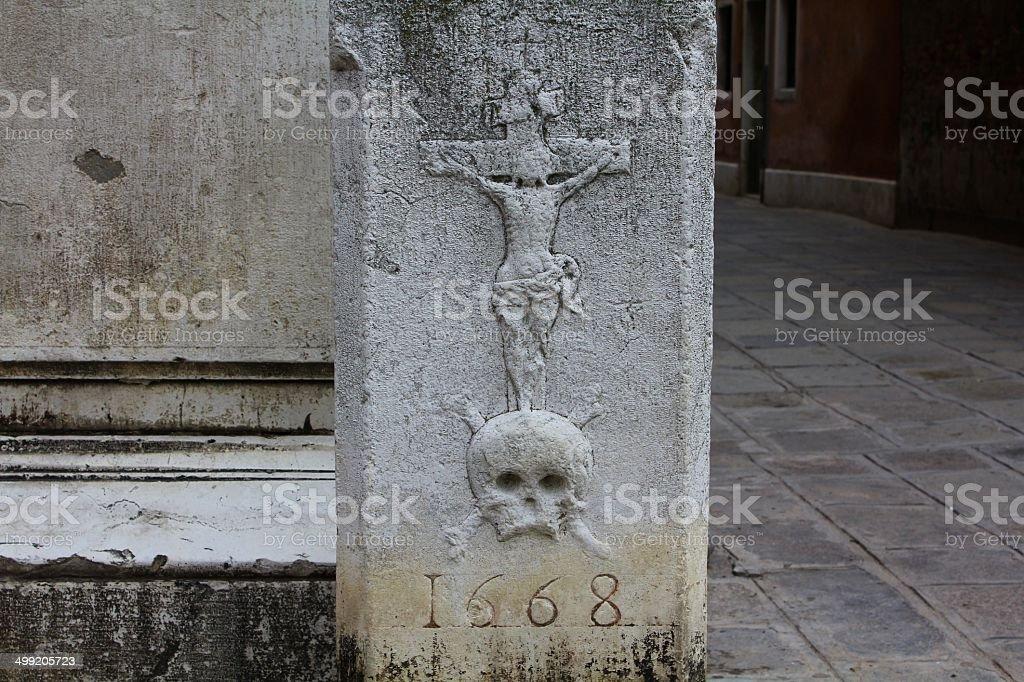 17th Century Plague Statue, Venice, Italy stock photo