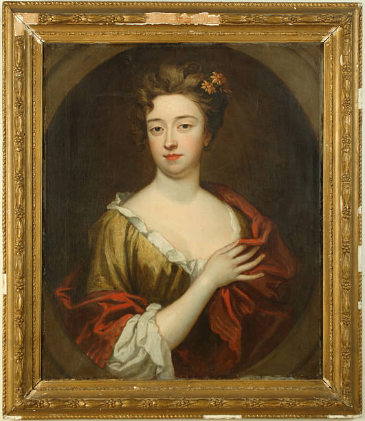 17th Century Portrait, Oil on Canvas This is an original unsigned 17th century painting.  The artist is unknown but it is in the style of Sir Peter Lely (Dutch/British, 1618-1680).  A portrait of Anna Maria Talbot (1642-1702), Countess of Shrewsbury from 1659-1668 by virtue of her marriage to Francis Talbot the 11th Earl of Shrewsbury, England. Francis Talbot died from wounds received in a duel with Anna's lover, the second Duke of Buckingham.  In a beat-up gilt wood frame. fine art portrait stock pictures, royalty-free photos & images