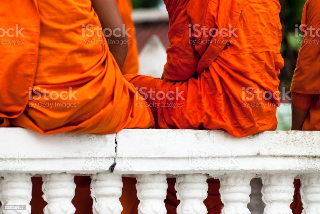 CHIANG MAI,THAILAND - JULY 17,Unidentified Buddhism neophyte playing little monk life style in Buddihist temple on JULY 17, 2009 in Chiang Mai, Thailand stock photo