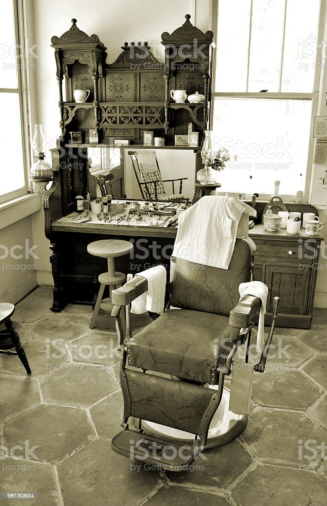 1800s Barber Shop Sepia Toned Image royalty-free stock photo