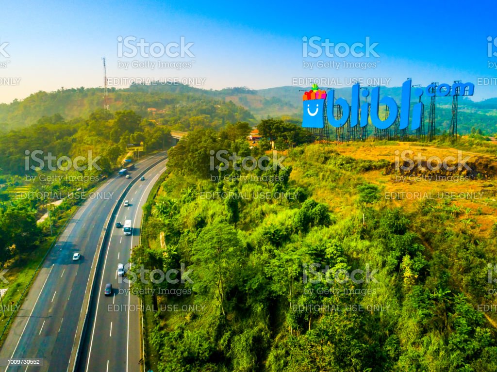 18th Asian Games 2018 Name Sign on the Top of The Hill stock photo
