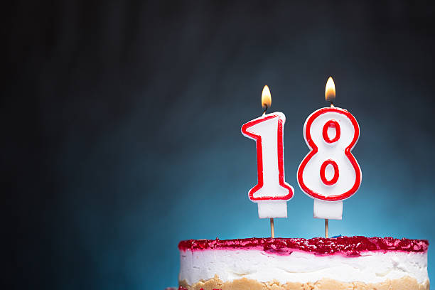 18th birthday candles - number 18 stock photos and pictures