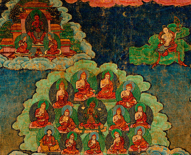 18th century antique Tibetan Buddhist Thangka A Tibetan religious painting on fabric, usually portraying the Buddha or lamas in stereotyped aspects. This is an 18th century antique Tibetan Buddhist Tanka, collection of the photographer. bodhisattva stock pictures, royalty-free photos & images