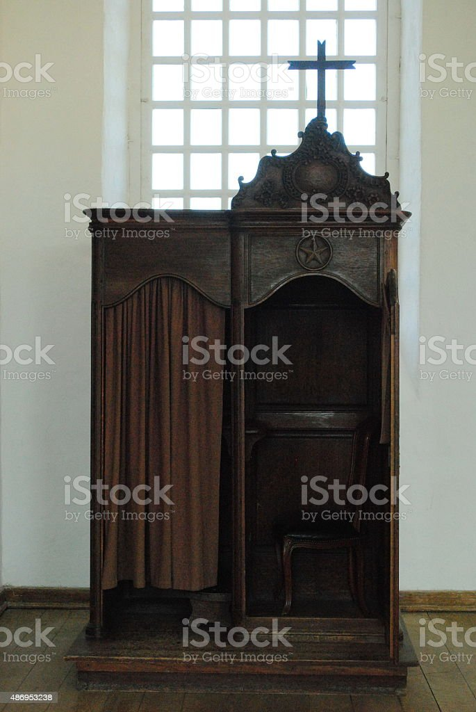 18th Century Confessional Booth stock photo