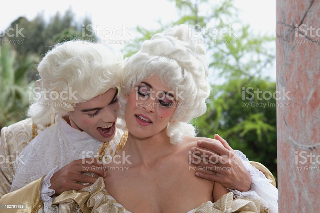18th Century French Couple Marie Antoinette Style stock photo