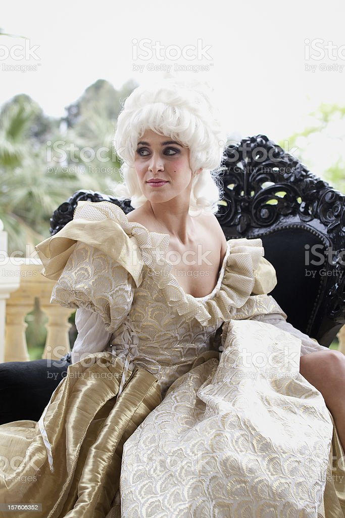 18th Century French woman in Marie Antoinette style stock photo