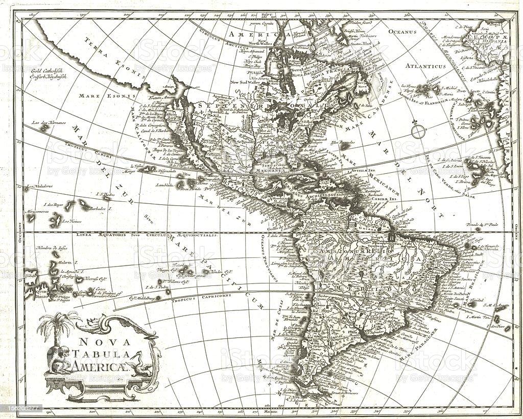 18th century map  America stock photo