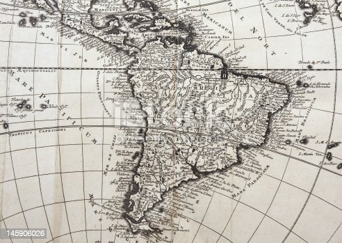 Map of South America from early 18th century engraving.Please see more antic maps: Europe, America, Africa, Asia: