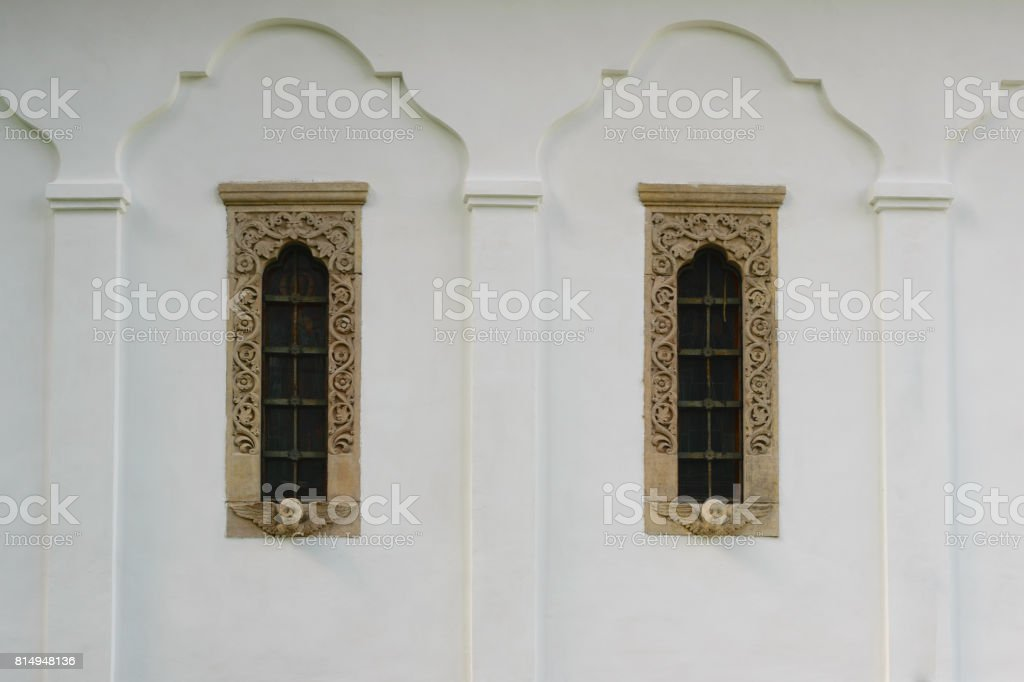 18th century style windows frame and decoration stock photo