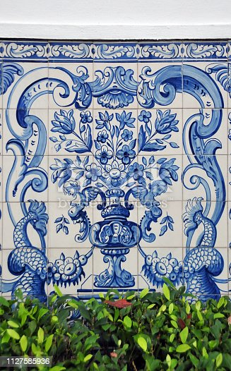 Macau, China: 18th century portuguese tiles - garden of the Leal Senado Building - former seat of Portuguese Macau's government (Legislative Assembly of Macau and Municipal Council of Macau) - Senado Square, Historic Centre of Macau - currently used for the Institute of Civic and Municipal Affairs